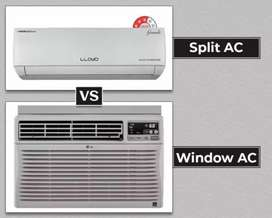 Window and split AC service, house wiring down seeling wiring