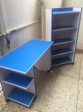 Blue and white contrast study table and book shelf