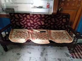 Wodden sofa with 2 chairs