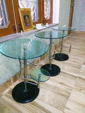 Glass Bed SideeTable (set of 3)