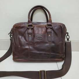Tas Laptop Fossil Dillon Leather Bag - Brown