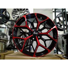 Velg Mobil Ring 18 HSR MYTH01 Pcd 5X114 Warna Black Red