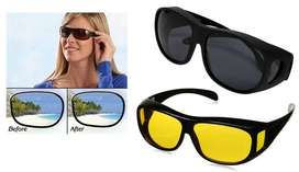 Day And Night Vision Glasses - Black & Yellow