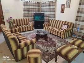 Sofa set 3 + glass table + settee + 1 stool