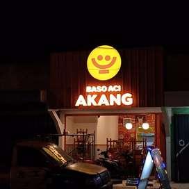 Tukang Neon Box Bundar Bulat Papan Nama Letter Timbul Akrilik Surabaya