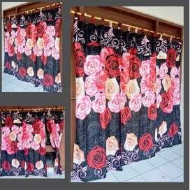 Hordeng Hitam Mawar Merah Pink ( Korden Hitam Motif Mawar ) [ gorden ]
