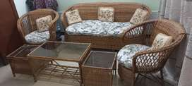 5 seater Cane sofa set with 3 tables