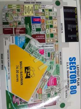 Available 10marla plot on B road in sector 80