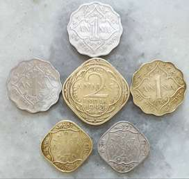 Rare Collection of Anna's Coins of British INDIA. 6 coin for 380 Rs