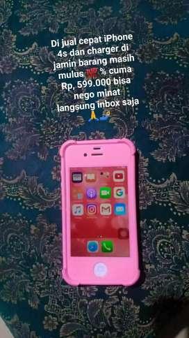 Dijual cepat iPhone 4s Rp, 599.000  hp dan charger