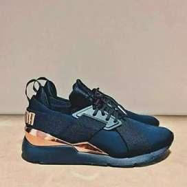 ORIGINAL sepatu PUMA satin hitam rosegold size 39