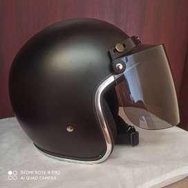 Helm Retro List Chrome baru