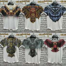 Baju kaos putih printing hewan buas owl burung hantu oleh oleh surabay