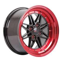 Bisa Kredit Velg HSR-Kawai-133-Ring-15x7-8-H4x100-ET18-Black-Red-Lips