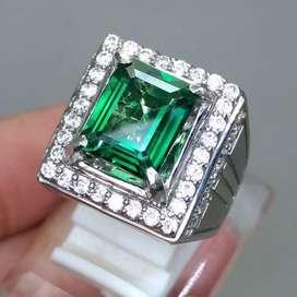 Cincin Batu Permata Green Topaz Kotak Hijau kode B449