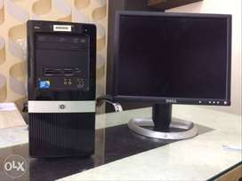 """Used hp Core 2 duo Computer set RAm 2gb Hdd 320gb 17""""Lcd one Month War"""