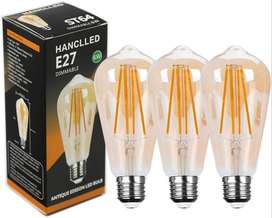 (Pack of 3) E27 Dimmable LED Bulbs Retro ST64 Warm White 6W Vi
