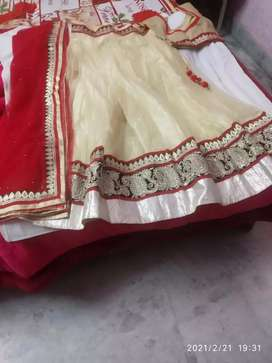 I have lenga it's colour is golden with red chhunni it's gently used