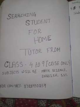 Searching students for home tutor form class 4to 9