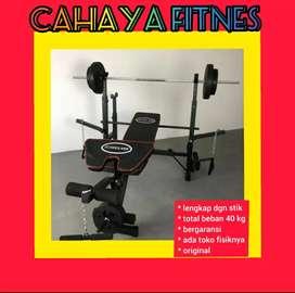 alat fitnes gym bench press original dengan beban 40 kh dan stik