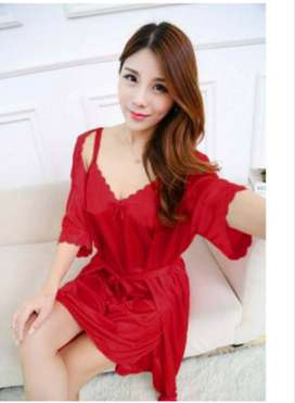 Dres lingerie sexy 2in1 11 WARNA Bahan tricot satin import