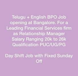 Telugu/Kannada + English BPO Customer support job at Bangalore