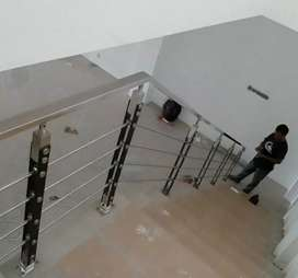 Railing tangga stainless balkon dan kanopi #2286