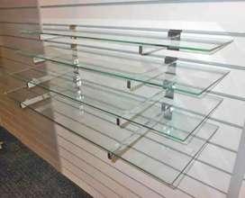 Wall glass shelf with f bracket