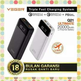 Powerbank Veger Q21 Support Fast Charging 3.0 Quick Charge