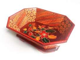 Mangkok Saji Buah Kayu Batik Model Segi Delapan Murah Grosir