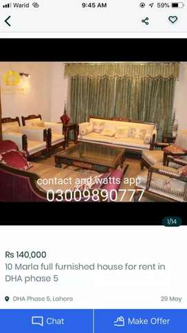 1kanal full furnished house for rent in DHA phase 4  for short time