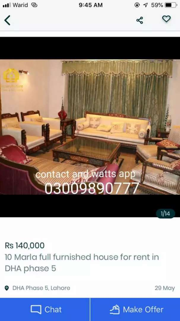 1kanal full furnished house for rent in DHA phase 4  for short time 0