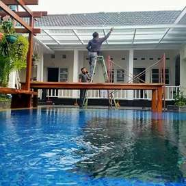 Kanopi kaca bagus buat halaman rumah dan kolam renang anda #836