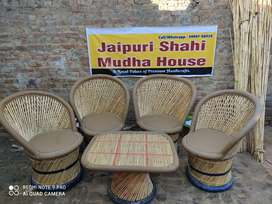 Premium Mudha Chairs and Table Set (4+1) - Garden Chairs