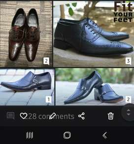 Hand crafted patent leather and leather shoes