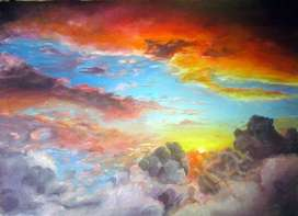 "Painting of sunset ""sunset from the clouds"""