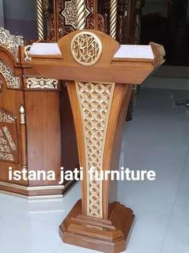 Jual mimbar podium material kayu jati solid