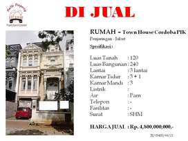 Dijual rumah di Town House Cordoba PIK Penjaringan Jakarta Utara