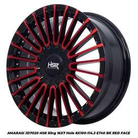 JUAL VELG MOBIL:HSR R16X7 H8X100-114,3 ET40 BK/RED FACE