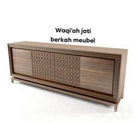 Meja tv minimalis mewah, pintu 4, bahan kayu jati tua terbaik