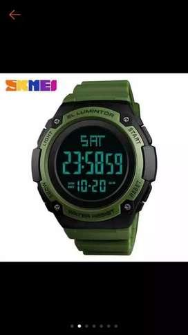 Jam tangan digital pria /wanita dgn gelang kareti warna hitam
