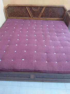 Double bed wardrobe + mattress pure cotton + bed sheet.