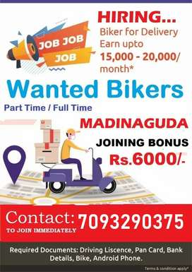 We are Hiring Delivery Associates / Delivery Executives @ Madinaguda