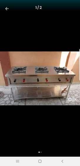 Brand New Pure steel fast food counter 3 burners