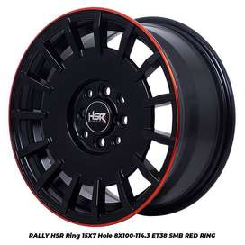 JUAL VELG RALLY HSR R15X7 H8X100-114,3 ET38 SMB/RR