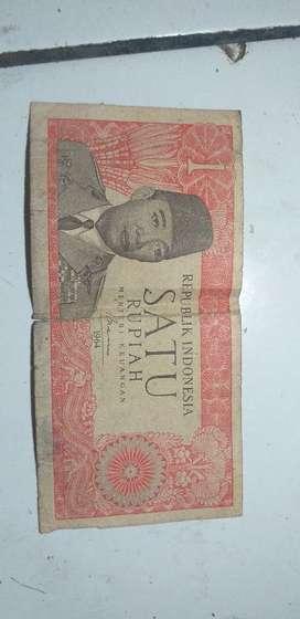 Uang 1 Rupiah gambar Presiden pertama SOEKARNO HATTA