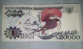 Uang kertas Rp 20000 cendrawasih merah