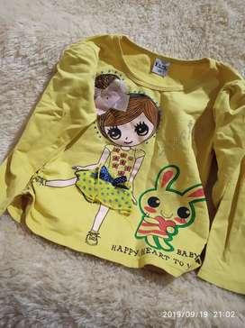 Baju anak cewek 5 tahun kuning motif tangan panjang bagus lucu