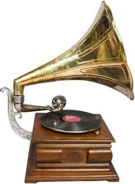 Global Art World Desk Music Box Phonograph Square Hmv Old Music Box An