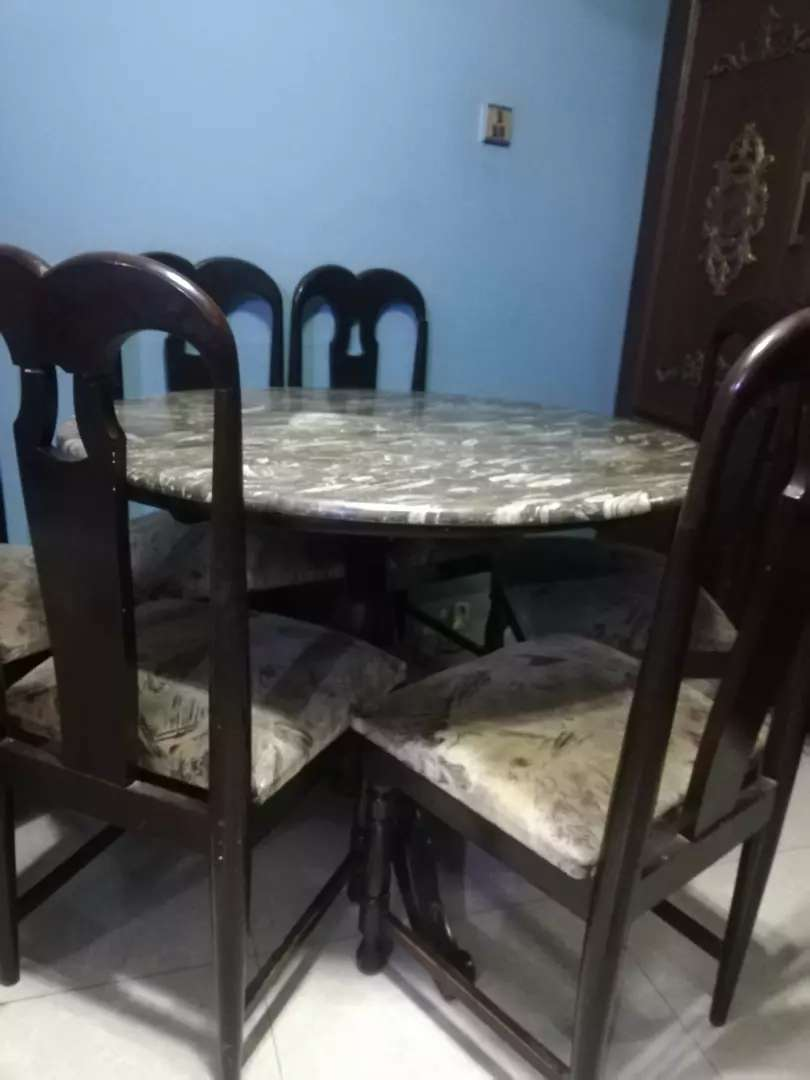 round dining table with 6 chairs solid and antique 0